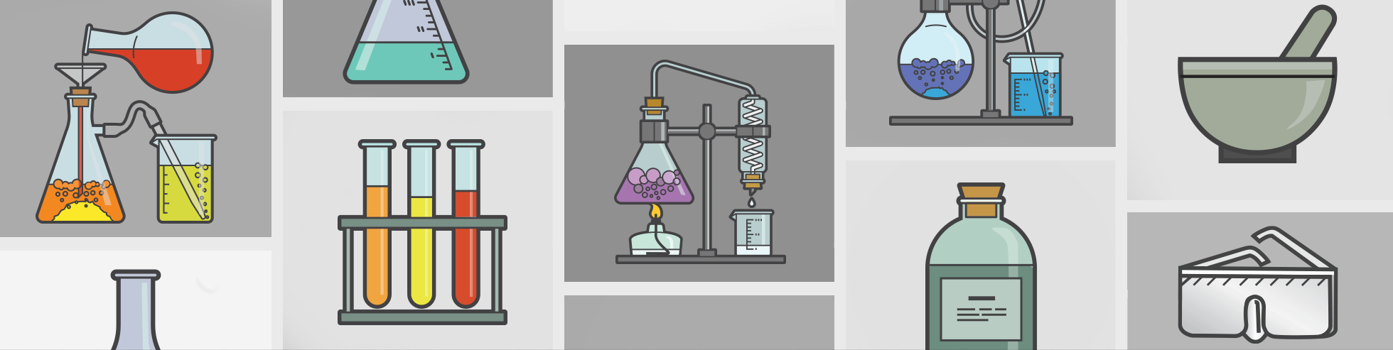 illustrations of various science-related items