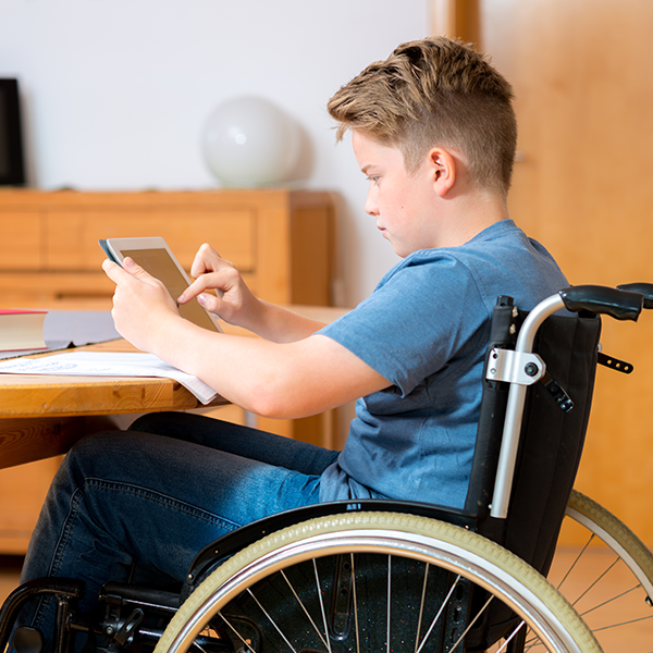 Student in a wheel chair